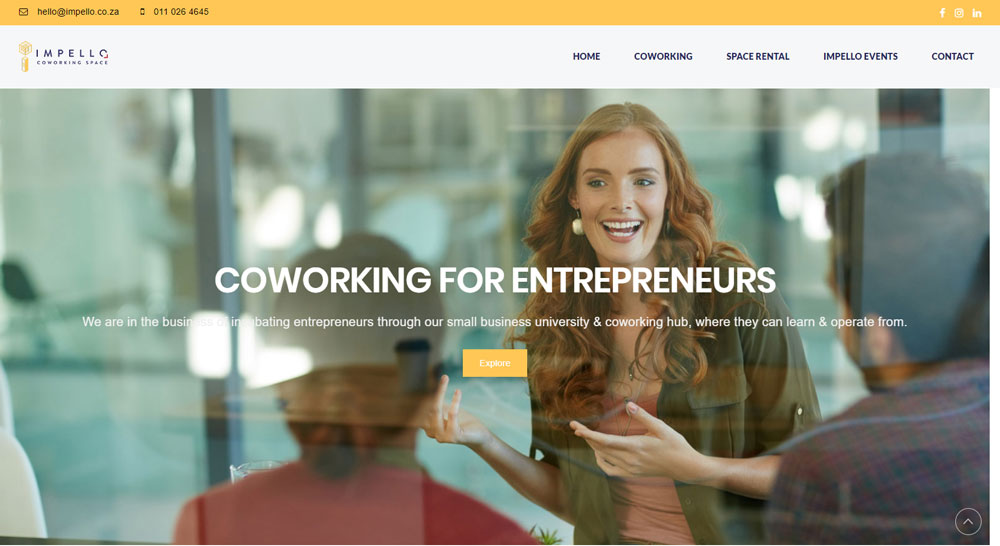 Impello coworking space WordPress website